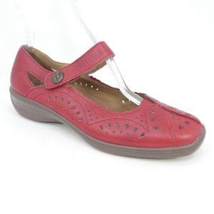 Hotter Chile Red Leather Laser Cut Mary Jane Shoes